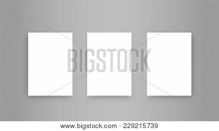 Blank Paper A4 With Shadow. Mock-up Realistic White Poster Hanging - Stock Vector.