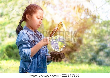 Asian Girl Holding Magnifying Glass Finding Growth Plants In The Green World, Plants Nurture Environ