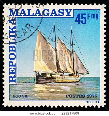 Moscow, Russia - March 01, 2018: A Stamp Printed In Malagasy Shows Arabic Sailing Ship, Circa 1975