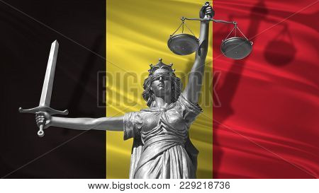 Cover About Law. Statue Of God Of Justice Themis With Flag Of Belgium Background. Original Statue Of