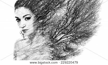 Double Exposure Portrait Of Attractive Woman Combined With Photograph Of Tree Or Branches, Surreal P