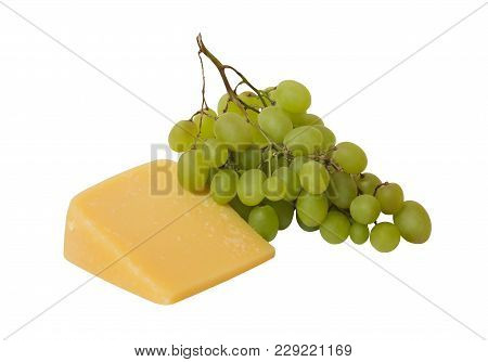 Parmesan Cheese And Green Grapes Isolated On White Background