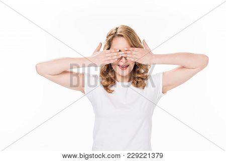 Obscured View Of Caucasian Woman Covering Eyes With Hands Isolated On White