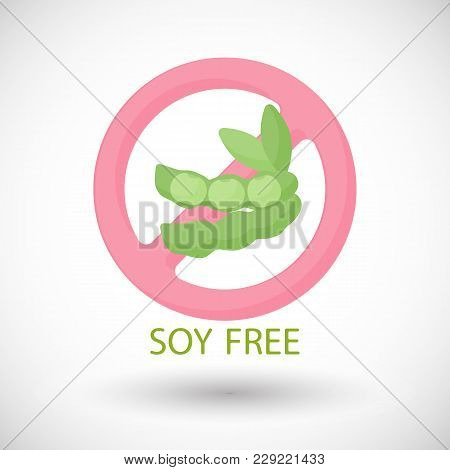 Soy Free Flat Vector Icon, Food Intolerance Flat Design. Food, Healthy Eating, Allergy Diet Object W