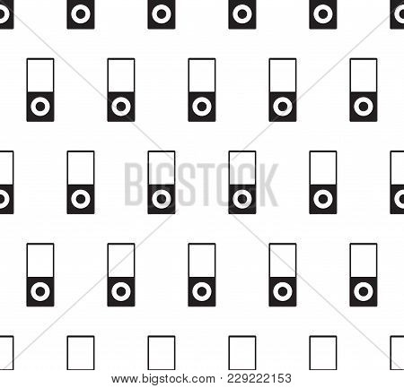 Music Player Icon Vector Illustration. Music Player Flat Sign. Seamless On White Background.