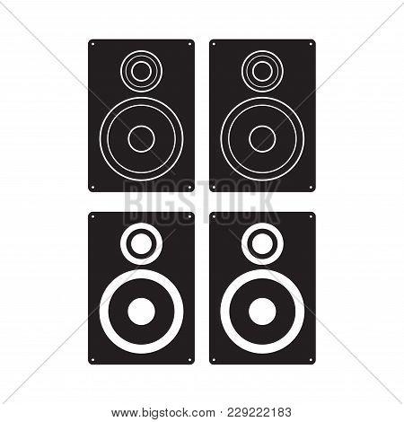 Subwoofer Icon Vector Illustration. Loudspeaker Box Flat Sign. Isolated On White Background.