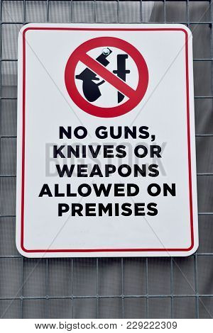 No Weapons Allowed Sign At Public Sporting Event