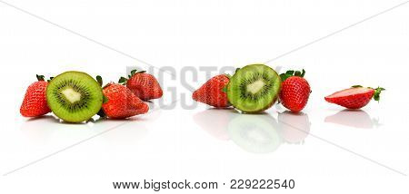 Strawberry And Juicy Kiwi On White Background. Horizontal Photo.