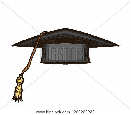 Black Graduate Cap  Isolated On White Background. Alumnus Hat Vector Illustration Collection In Sket