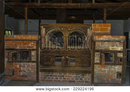 Dachau, Germany - August 29, 2015: Oven Crematorium From Concentration Camp.