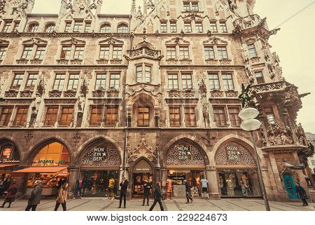 Munich, Germany - November 17, 2017: People Shopping At Stores Inside The Historical Neo-gothic Styl