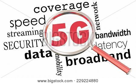 5G Network Coverage Magnifying Glass 3d Illustration