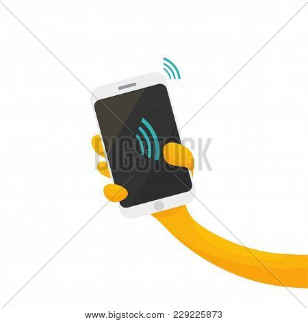 Vector Illustration For Contactless Payments Promotion Or Nfc Paying: Cartoon Styled Hand, Smartphon