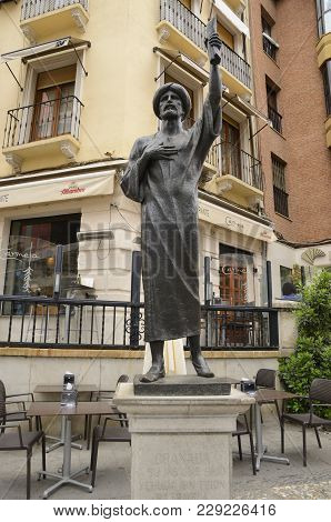 Granada, Spain - May 21, 2017:memorial Monument To A Jew Poet, Doctor And Philosopher In Street  Of