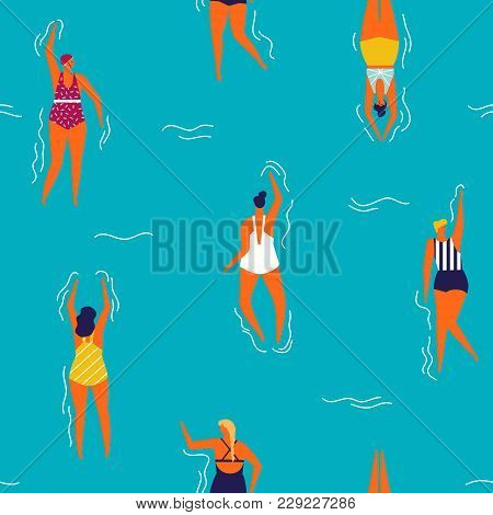 People Swim In The Swimming Pool Seamless Pattern. Summertime Holiday Seamless Pattern.