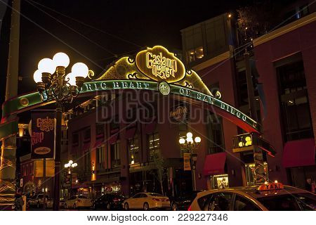 San Diego ,ca - May 05 : Sign At The Entrance To The Gaslamp Quarter In Downtown San Diego,californi