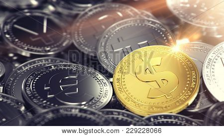 Huge Stack Of Different Coins With Golden Dollar Coin On The Front. 3d Rendering