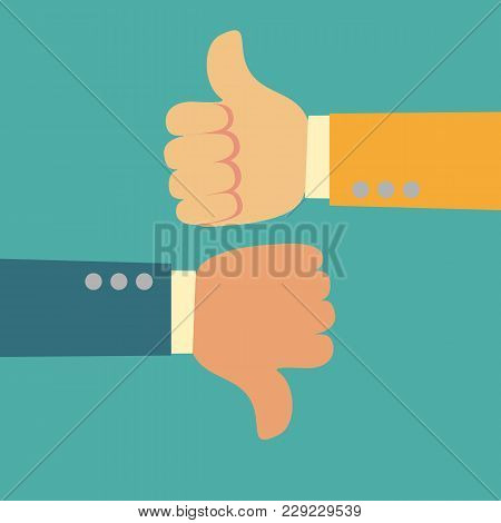 Thumbs Up And Thumbs Down. Like And Dislike Symbol. Flat Design Style. Stock Vector Illustration.
