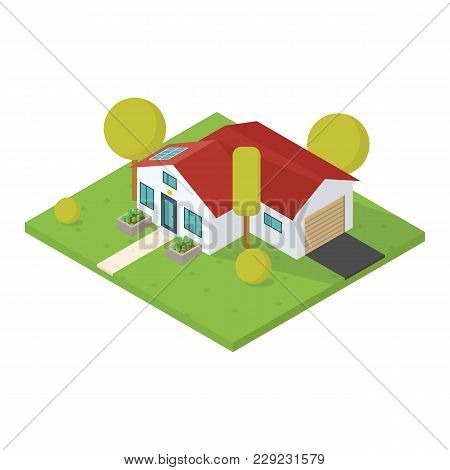 House 3d Vector. Isometric View Style Vector Illustration. Tree And Bushes With Flowerbed Near Moder