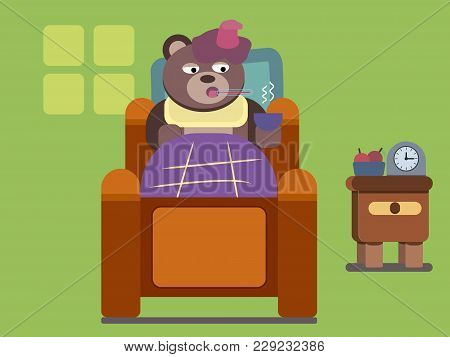 Cartoon Bear, Cartoon Brown Bear Feel Ill Flat Illustration , Cartoon Animals