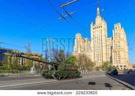 Moscow, Russia - May 09, 2017: Russian Self Propelled Artillery Msta S On Parade Festivities Devoted