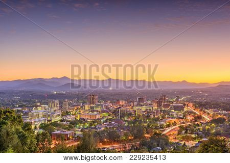 Ashville, North Carolina, USA skyline and landscape after sunset.