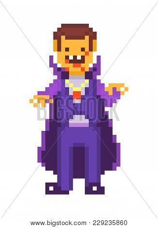 Pixel Art Character, Scary Cruel Vampire Isolated On White Background. Dracula In Violet Costume And