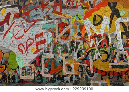 Memory Wall Victor Tsoi, To The Died Musician. Daily Children And Young People Write New Records Whi