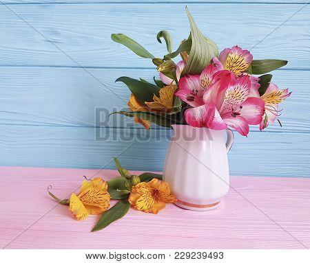 vase flower alstroemeria on a wooden garden, fragility, wood, florescence