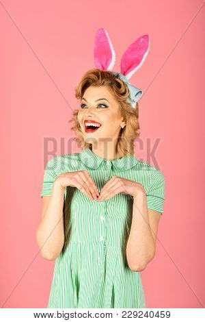 Beauty, Fashion, Cosmetics, Vintage Style. Easter, Makeup, Pinup Party, Girl In Rabbit Ears. Pinup W
