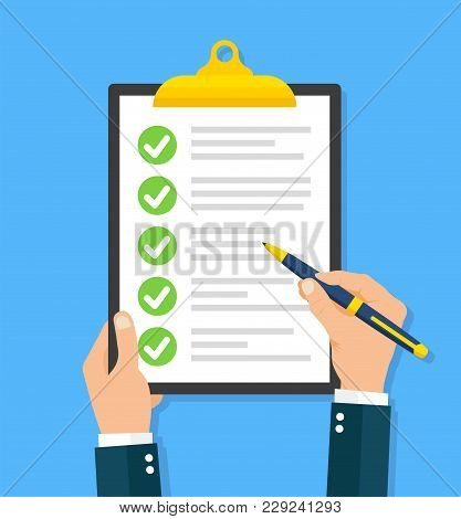Hand Filling Checklist On Clipboard - Stock Vector.