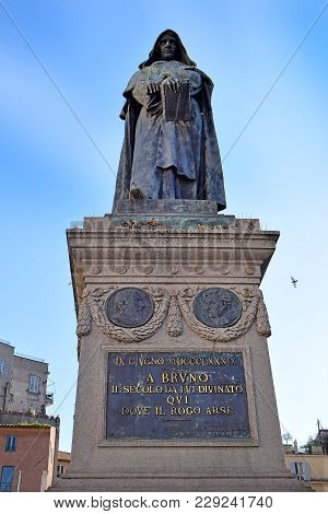 Monument To The Philosopher Giordano Bruno In The Place He Was Executed, Square Campo Dei Fiori In R