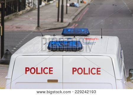Police Van On The Streets Of London