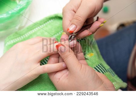 Manicure In A Beauty Salon . In The Park In Nature