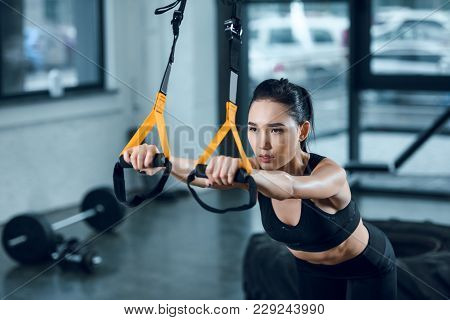 Attractive Sporty Woman Working Out With Suspension Straps At Gym