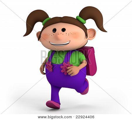 School Girl Running