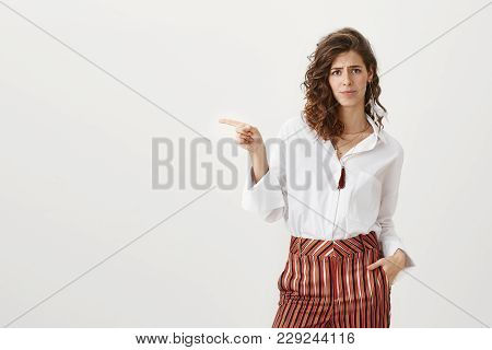 It Is Shame You Do Not Use This Opportunity. Studio Portrait Of Attractive Caucasian Woman In Trendy