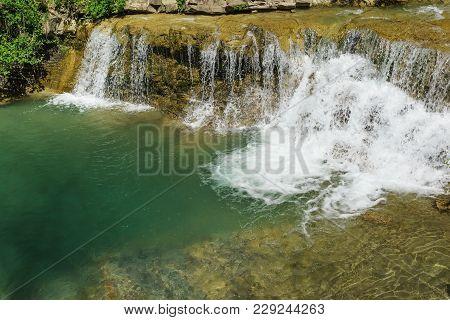 Big Deep Bowl Washed Waterfall Clean Mountain River Janet. Russia, Gelendzhik, Village Vozrozhdenie