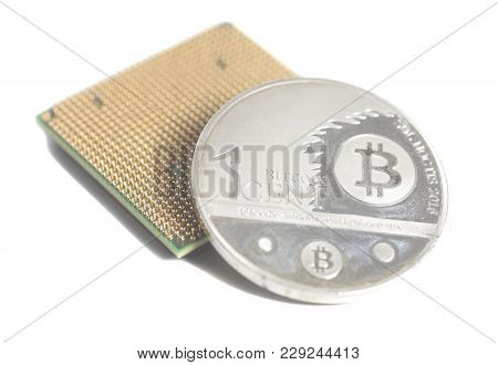 Central Processing Unit Cpu Microchip With Silver Bitcoin On White