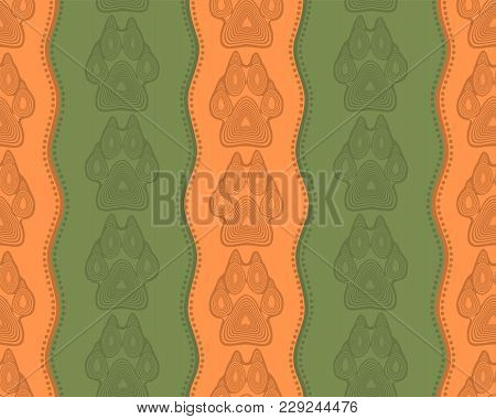 Seamless Pattern With Paw And Claws Made In A Decorative Manner And Boho Style Of Orange-green Color