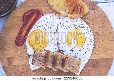 Fried Eggs, Traditional Glazunya, Two Fried Eggs, Full Breakfast, Yolk With Dill