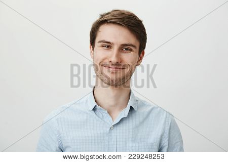 Keep Talking But I Do Not Care. Portrait Of Polite Bothered Attractive Office Worker In Casual Shirt