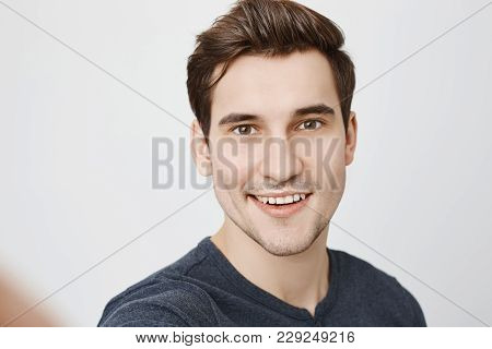 Human Face Expressions And Emotions. Positive Young Handsome Male With Stylish Haircut And Stubble I