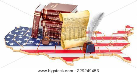 Constitution Of The United States Concept With Map And Flag, 3d Rendering
