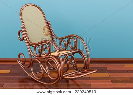 Rocking Chair On The Wooden Floor, 3d Rendering