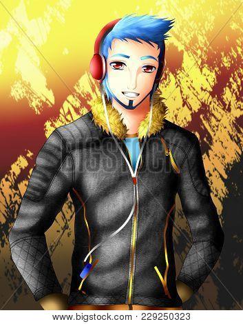 Anime Boy With Casual Dress. Anime And Manga Syle.