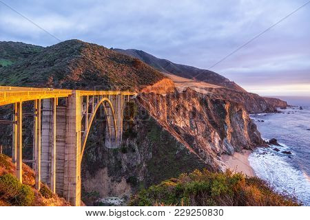 Bixby Creek Bridge On Highway 1 At The Us West Coast Traveling South To Los Angeles, Big Sur Area, C