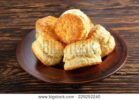 English Scones On A Clay Plate