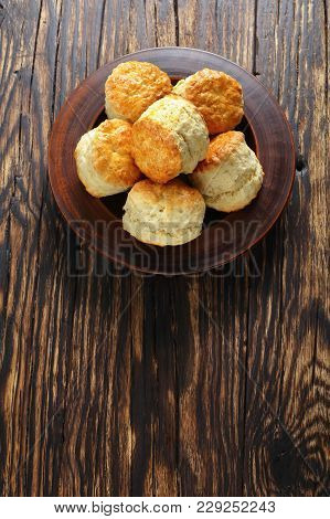 Homemade English Scones On Clay Plate