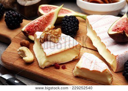 Italian Antipasti Wine Snacks Set. Cheese Variety, Mediterranean Olives, Pickles, Prosciutto Di Parm
